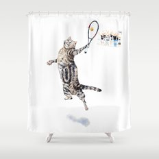 Cat Playing Tennis Shower Curtain