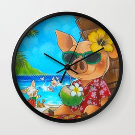 Pigs on Vacation Wall Clock