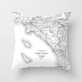 Los Angeles & San Diego Map Throw Pillow