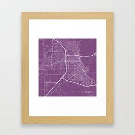 Beaumont Map, USA - Purple Framed Art Print