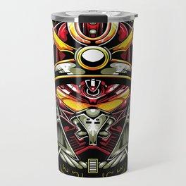 Metal samurai, iron mask Travel Mug