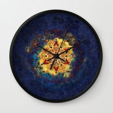 Star Shine in Gold and Blue Wall Clock