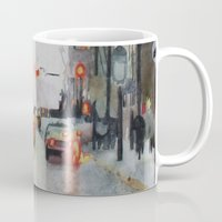 vancouver Mugs featuring Vancouver Blues by Sandrine Pelissier