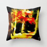 redhead Throw Pillows featuring Redhead by Nev3r