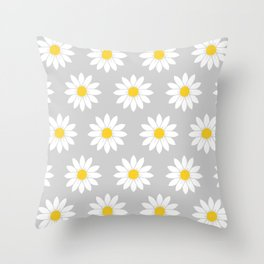 Daisies in Gray Throw Pillow