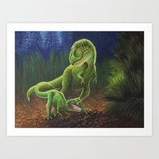 T-Rex Mother and Young Art Print