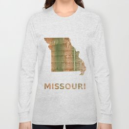 Missouri map outline Brown green blurred watercolor texture Long Sleeve T-shirt