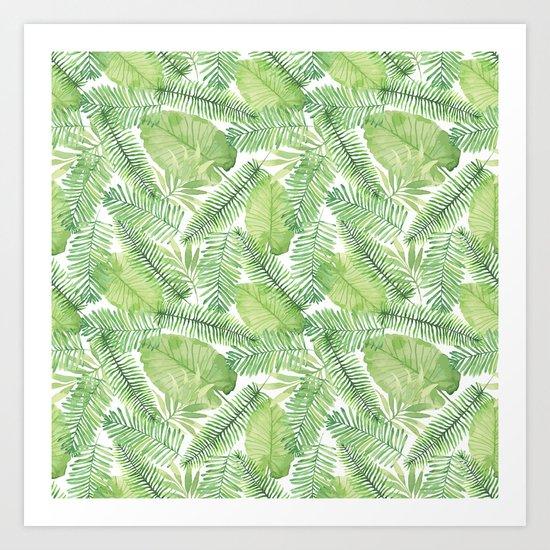 Tropical Branches Pattern 02 Art Print