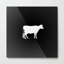 Cow: Black Metal Print