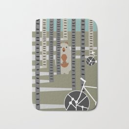 Biking in the woods Bath Mat