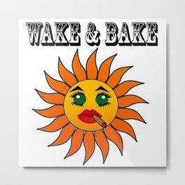 Wake and Bake Kawaii Sun Metal Print