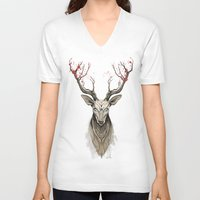 deer V-neck T-shirts featuring Deer tree by Rafapasta