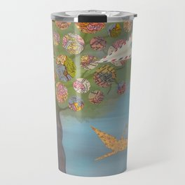 Boy in a Paper Plane flying into the World Map Tree  Travel Mug