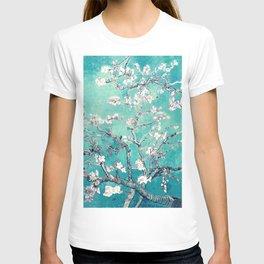 Vincent Van Gogh Almond Blossoms Turquoise T-shirt