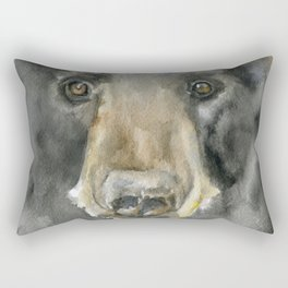 Black Bear Watercolor Rectangular Pillow