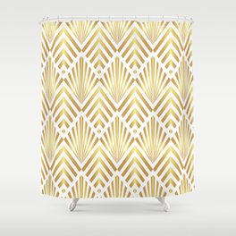 Gold art deco diamonds on white Shower Curtain