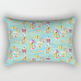More Fishes in Jumpers Carrying Umbrellas  Rectangular Pillow