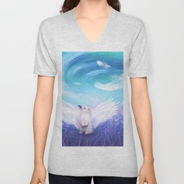 Under His Wings - Blue Unisex V-Neck