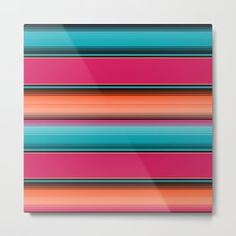 Traditional Mexican Serape in Teal Metal Print