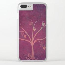 Grunge Garden Canvas Texture:  Winter Tree with Lanterns & Hearts Clear iPhone Case