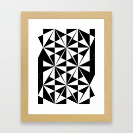 Black White Triangle Pattern Framed Art Print