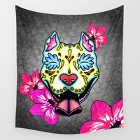 pit bull Wall Tapestries featuring Slobbering Pit Bull Day of the Dead Sugar Skull Dog by Pretty In Ink