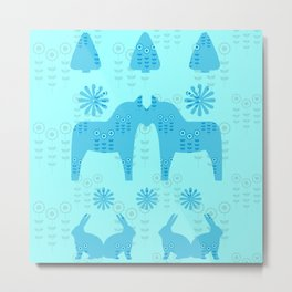 Folklore pattern blue horse and flowers Metal Print