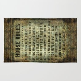 House rules on aged vintage retro looking parchment patina Rug