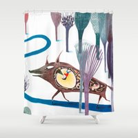 tom hiddleston Shower Curtains featuring Tom Thumb by Paloma Corral