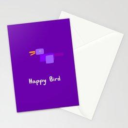 Happy Bird-Purple Stationery Cards