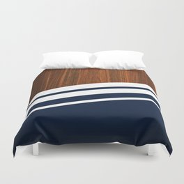 Wooden Navy Duvet Cover