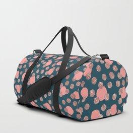 Girly Artsy Rose Gold Pink Polka Dots Duffle Bag