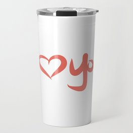 I Love You in Peach Travel Mug