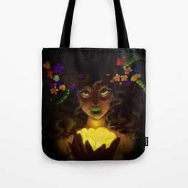 Curly and floral Tote Bag