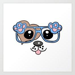 Cute Dog with Sunglasses Art Print
