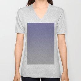 Grayish Blue Gray Ombre Unisex V-Neck