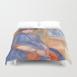 "Auguste Renoir ""Young Girl in a Blue Dress"" Duvet Cover"
