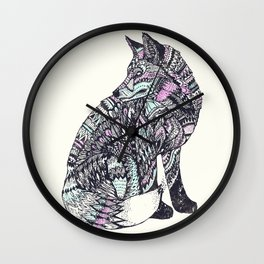psychedelic fox Wall Clock