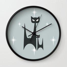 Mid Century Atomic Blue Cats Wall Clock