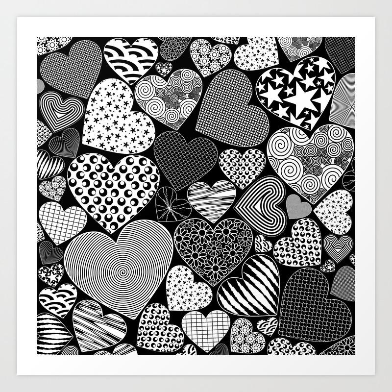 Love Hearts Doodle Art Pattern Art Print By Bluedarkatlem Society6
