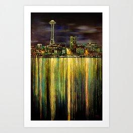 Seattle Night Skyline #3 Art Print