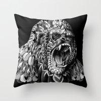 bioworkz Throw Pillows featuring Gorilla by BIOWORKZ