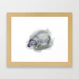 Watercolor Hippo Framed Art Print