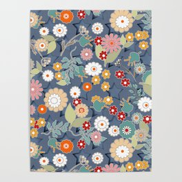 Colorful flowers on a denim background. Poster