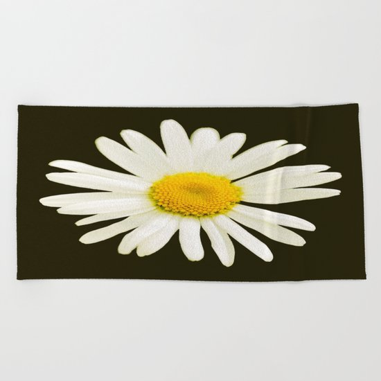 Daisy on a black background - #Society6 #buyart Beach Towel