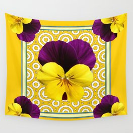 Golden Modern Art Deco Purple Pansy Pattern Art Wall Tapestry