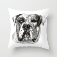 bulldog Throw Pillows featuring Bulldog by Danguole Serstinskaja