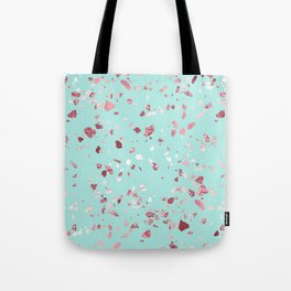 Turquoise and Rosegold Glitter Terrazzo Tote Bag