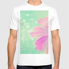 Touch the Bokeh Light MEDIUM White Mens Fitted Tee