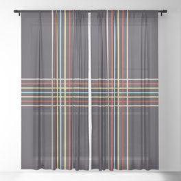 Retro Colored Thin Lined Cross Sheer Curtain